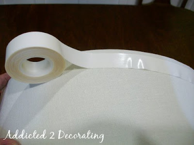 Applying the adhesive tape to the lampshade