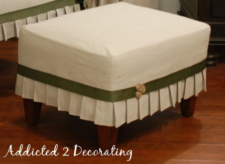 DIY projects with jute--jute rosette buttons used on ottoman