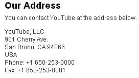 YouTube / Google business address