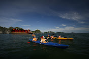 Kayaking activities in Halong Bay