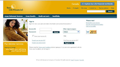 Sunlife Member Login at Sun Life of Canada website - www.sunnet.sunlife.com