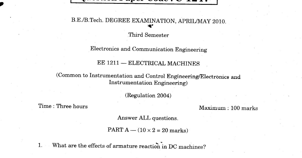 Anna University Question Bank Electrical Machines