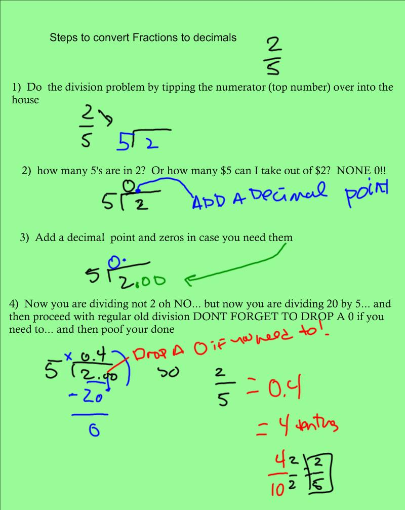 2nd & 5th How To Convert Fractions Into Decimals Here Are Some Easy Steps  Mr Rott's