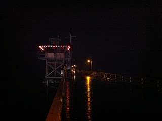 The lights were strung on the Lifeguard tower with care
