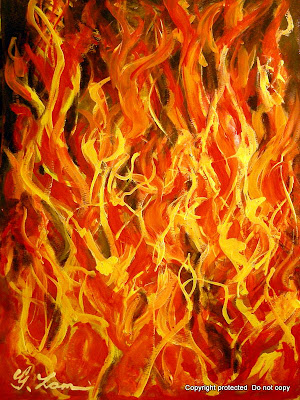 Acrylic Painting - Warm Flame of Fire: gilbertlamm.blogspot.com/2009_08_01_archive.html