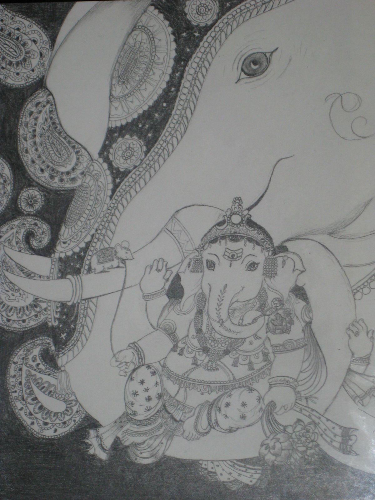 Vinayagar pencil sketch