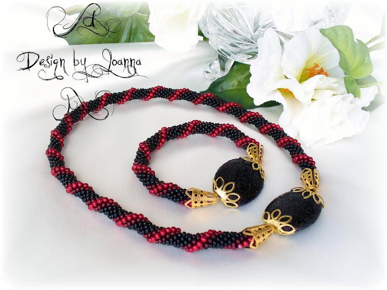 Schwarz-Dunkelrot Kette und Armband...