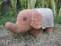 handwoven, naturally dyed, organic cotton elephant from rural Thailand