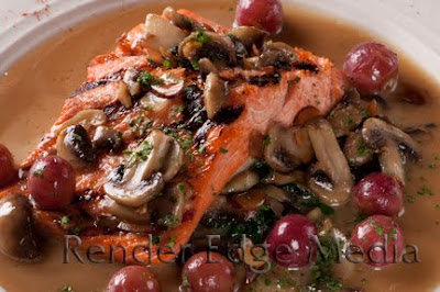 Salmon Almondine as prepared by Chef Andy Fass of Amelia's Restaurant in Gainesville, FL.