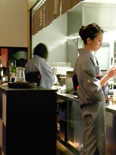 Japanese server in Kimono