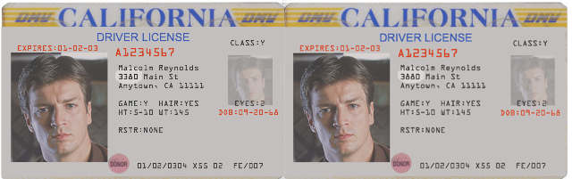 sample CA drivers license