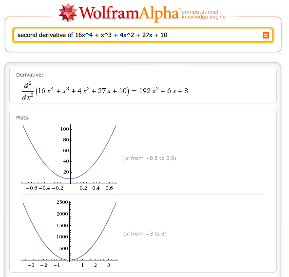 Wolfram Alpha computing a derivative