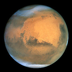 Mars as seen by the Hubble space telescope.