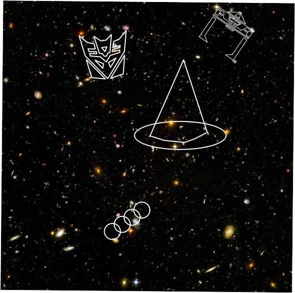 Hubble starfield image superimposed with decepticon, tron recognizer, wizard hat