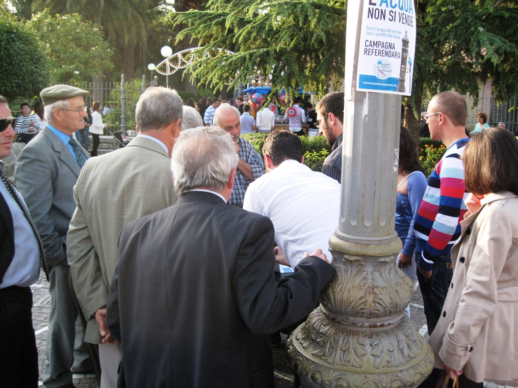 Corleone. Per il referendum sull'acqua pubblica raccolte 300 firme in meno di due ore