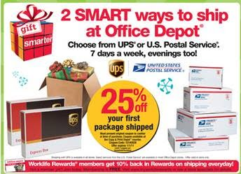 50faaba9 Office Depot has been promoting their partnership with the Postal Service  through the Approved Shipper Program. This promotion consists of ads on  their ...