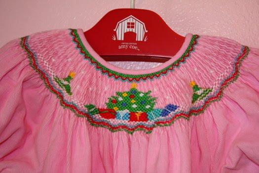 Wellies amp dinosaurs sold pink christmas smocked bishop dress