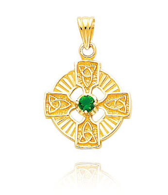 Gold Celtic CZ Cross Pendant