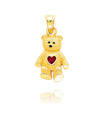 14K July Birthstone Ruby Bear Charm