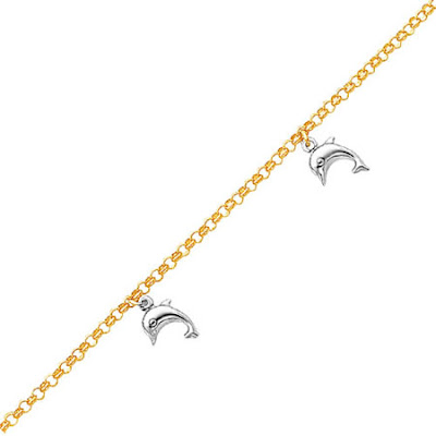 14K Two-Tone Gold Dolphin Anklet