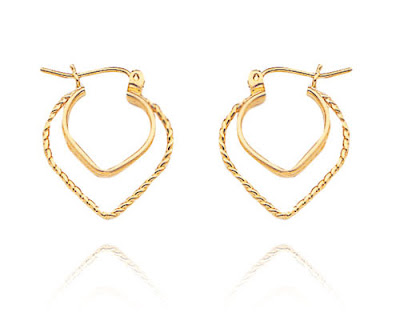 Double Heart Hoop Earrings