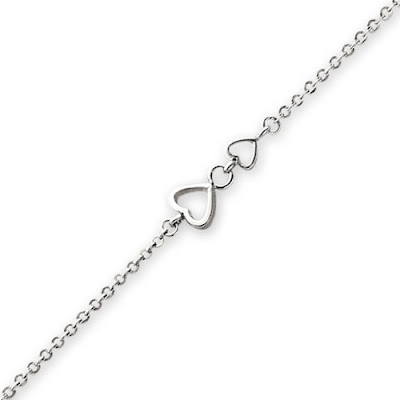 White Gold Heart Anklet