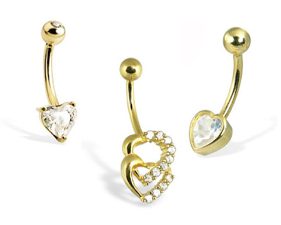 Gold Heart Belly Button Rings