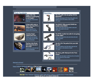 """Future in Telescope Technology - Website (bottom)""  2006"