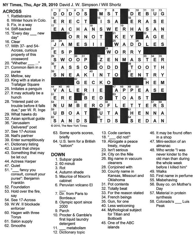 The new york times crossword in gothic april 2010 042910 odd malvernweather Gallery