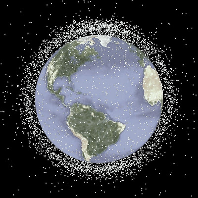 orbital space debris The near-earth space environment where the international space station and numerous satellites orbit the earth is cluttered with man-made orbital debris in addition.