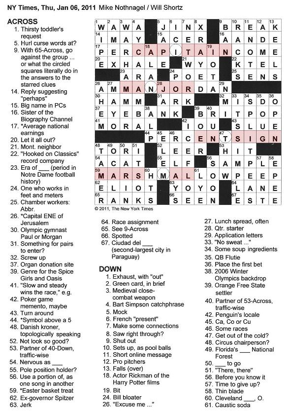 The New York Times Crossword In Gothic 01 06 11 Breaking Ranks