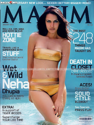 Neha Dhupia Hot Maxim January Bikini Photoshoot