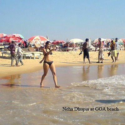 neha dhupia in hot bikini at goa beach