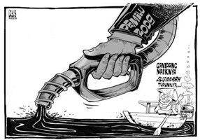 Harga minyak dunia melambung naik. Dikabarkan turun pada saat musim pemilu 2009