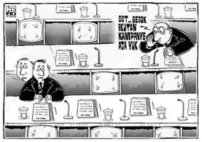 Karikatur opini; Anggota dewan absen saat rapat DPRD, karena disibukan urusan Parpol dan Kunker