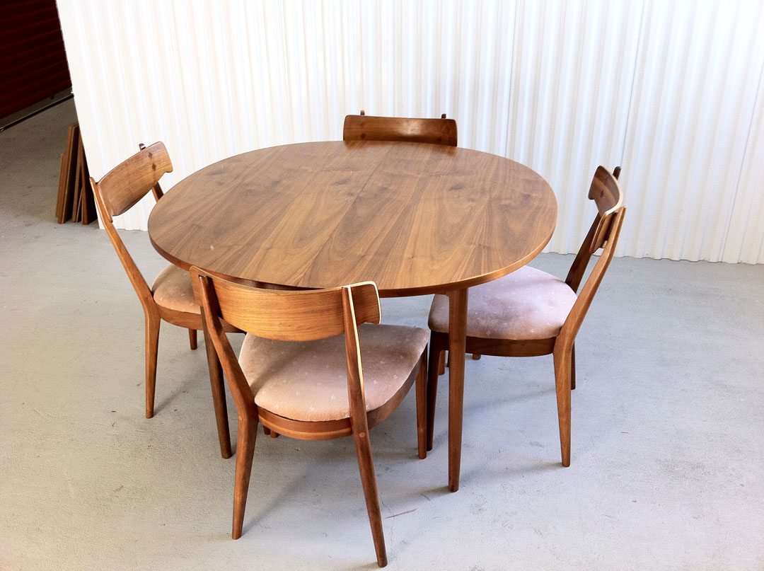 mid century modern drexel declaration dining set with 4 walnut chairs