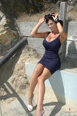 Denise Milani in Charming Dark Purple Blue Tight Tank Mini Dress Fashion Model Photoshoot