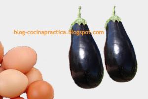 Algunos ingredientes de la Receta de Cocina Fácil de Berenjenas con Manto de Tomate y Huevo.