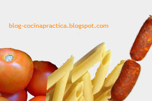 Algunos ingredientes de la sencilla Receta de Cocina de Pasta con Salsa de chorizos.