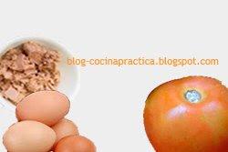 Atún, huevos y tomate, ingredientes de la Receta de Cocina Fácil y Rápida de Omelette Ya.