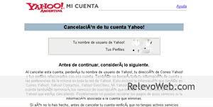 Usuario borrando una cuenta de Yahoo y aviso de cancelación