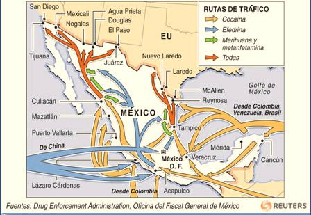 Las rutas del narcotráfico
