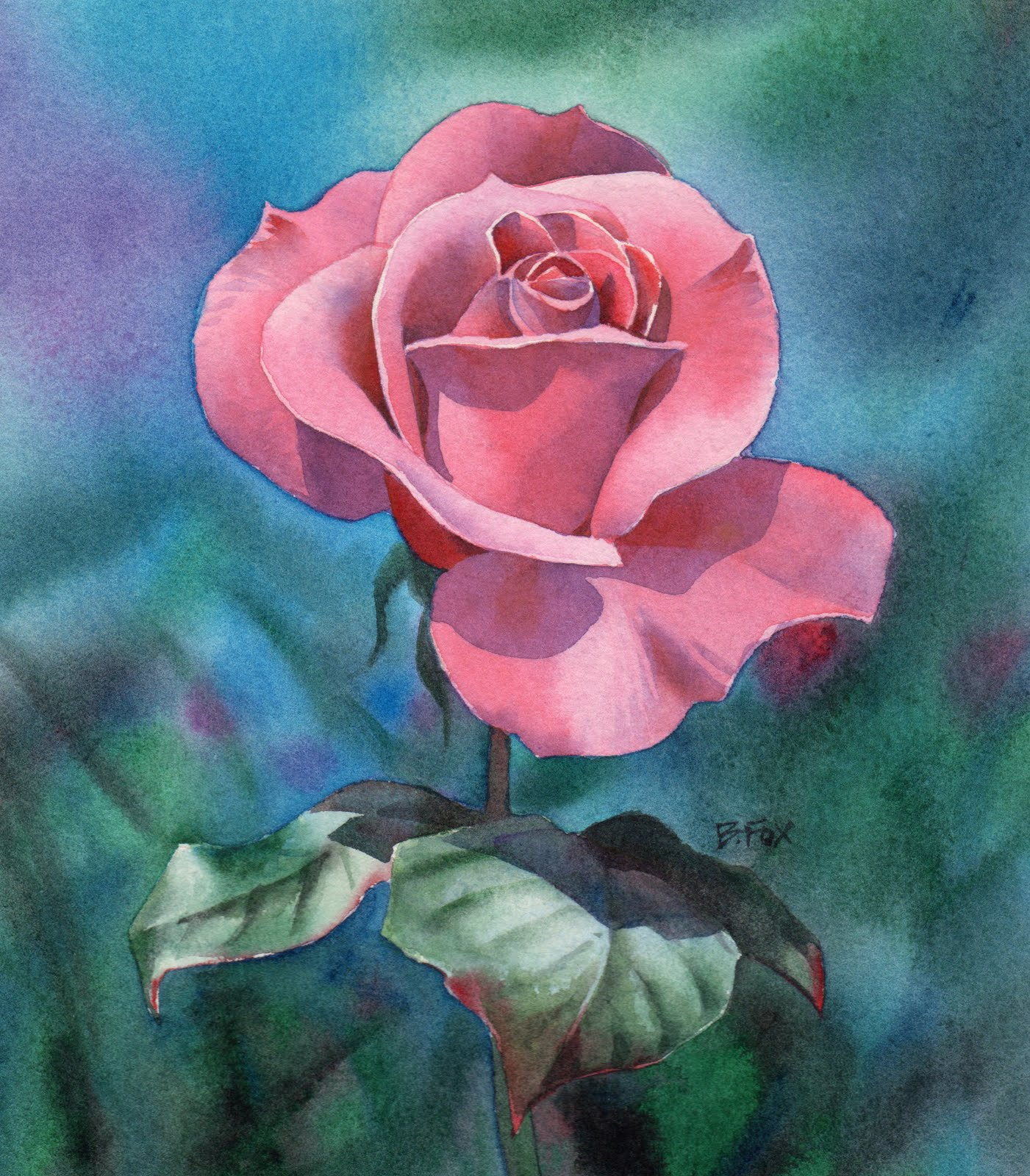 Barbara Fox Studio PERFECTLY PINK watercolor painting demonstration by Barba