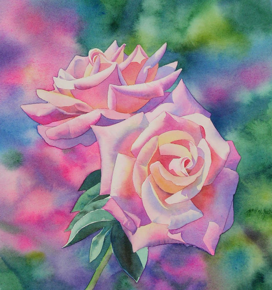 Barbara fox studio watercolor painting demonstration by for How to paint a rose in watercolor step by step