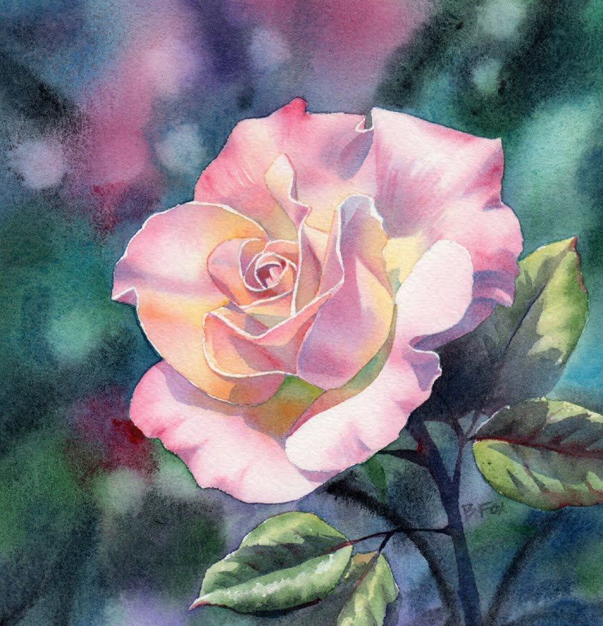 Pale Pink Rose Floral Watercolor