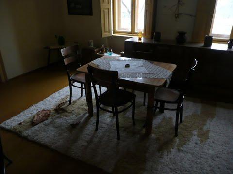 stile, tradizionale, interni, casa, Vojvodina, Serbia, tavolo, sedie, mobili,