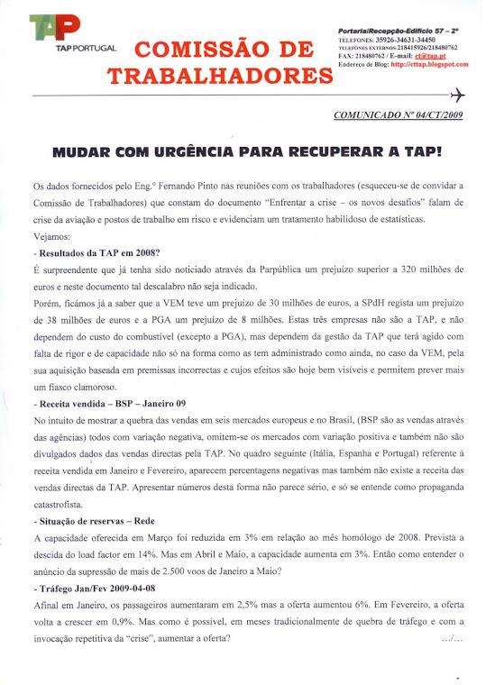 Comunicado 04/2009 (frente)