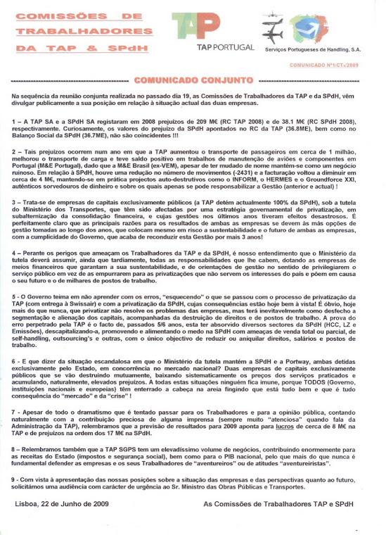 Comunicado conjunto 01/2009