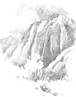 Roland Lee sketch of Snow Canyon