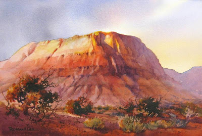 Cliffs on Fire Best of Show at the So Utah Watercolor Society Juried Show 2008 on exhibit at the Zion's Bank Staircase gallery in St. George